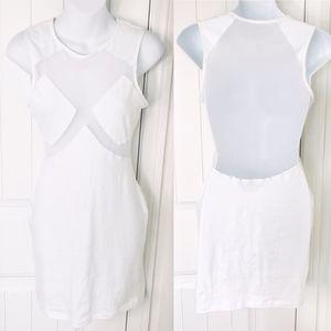 Nasty Gal White Mesh Sexy Bodycon Mini Dress